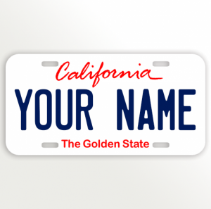 California License Plate Vanity Plate