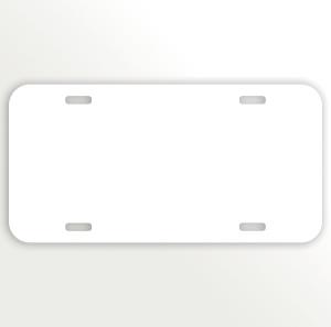 White Car Aluminum License Plate