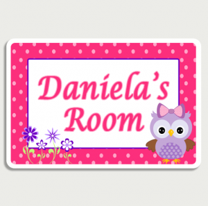 Owl Pink Room Sign Name