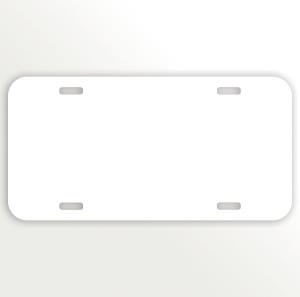 White Car Aluminum License Plate
